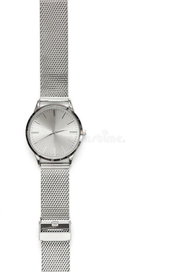 Классические стальные наручные часы стоковая фотография