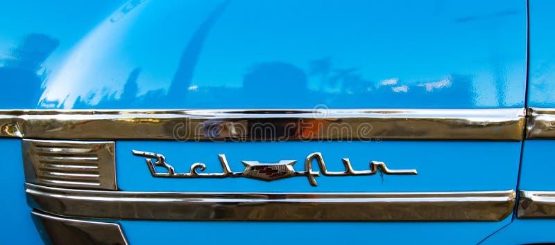 Классический американский голубой логотип Bel Air стоковое фото