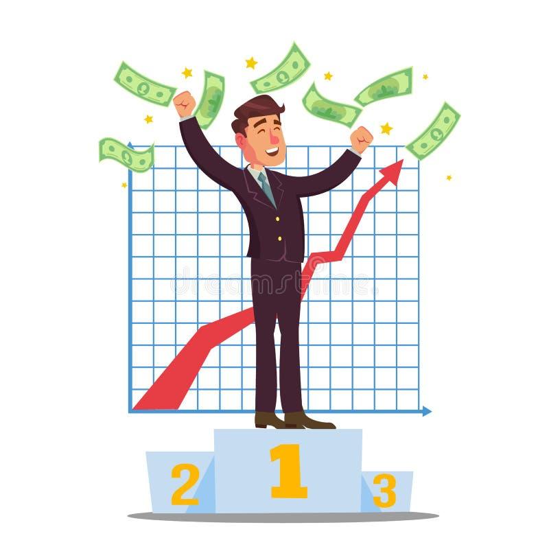 Классический вектор торговца Маклер штока торгуя в рынке тенденцией к повышению курсов Бизнесмены торгуя запасами онлайн головка  бесплатная иллюстрация