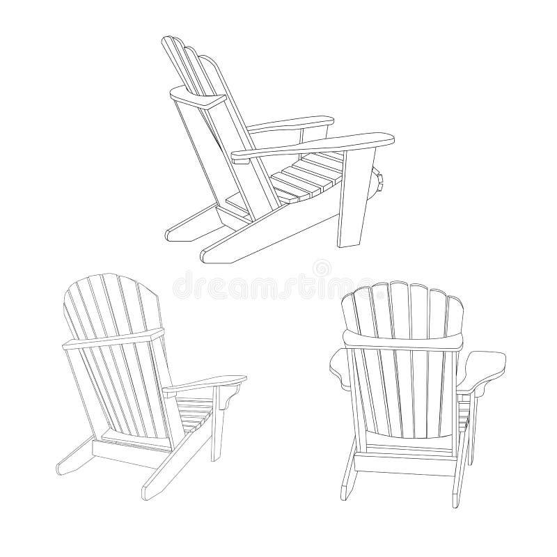 Классический деревянный внешний стул, эскиз плана Комплект мебели сада в стиле adirondack иллюстрация штока