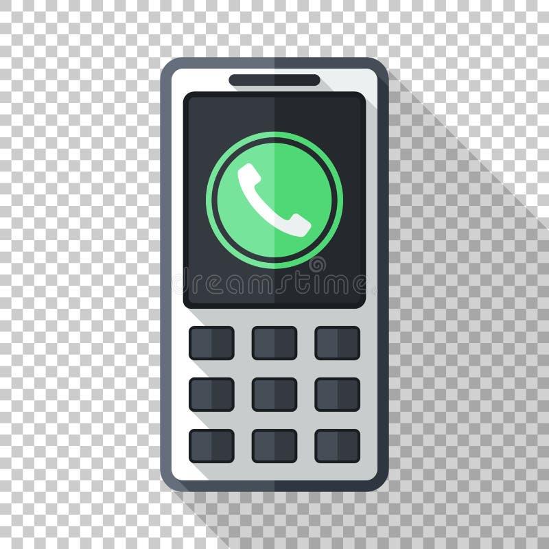 Классический значок сотового телефона в плоском стиле с зеленой пиктограммой входящего звонка на прозрачной предпосылке иллюстрация штока
