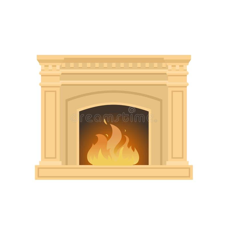 Классический камин сделанный естественного камня, гипса, с горящим пламенем иллюстрация вектора