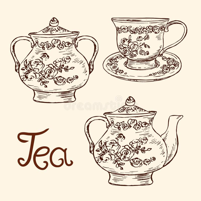 Классический набор фарфора: шар сахара, чашка и поддонник, чайник с розами и листья орнаментируют, вручают вычерченный doodle, пр иллюстрация вектора