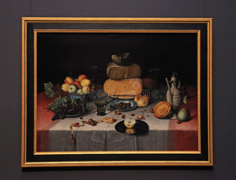 Классический натюрморт с плодоовощ, сыром, гайками и вином на Ri стоковая фотография