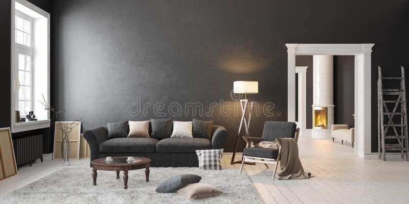Классический скандинавский черный интерьер с камином, софой, таблицей, креслом для отдыха, лампой пола бесплатная иллюстрация