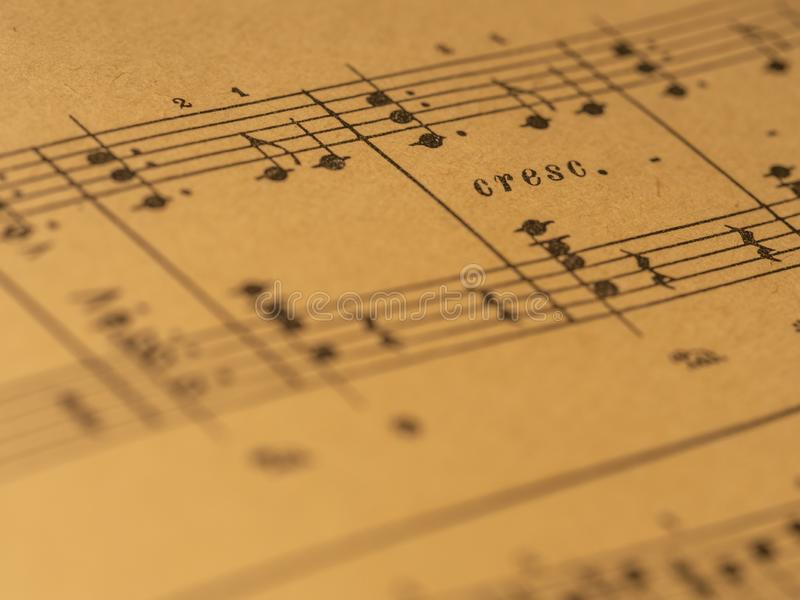 Классический счет рояля печати с меткой крещендо стоковые изображения rf