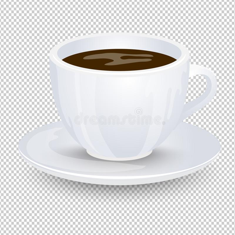 Классический черный кофе в белой чашке при поддонник изолированный на прозрачной предпосылке Любимое питье утра Вектор Illustrati иллюстрация вектора