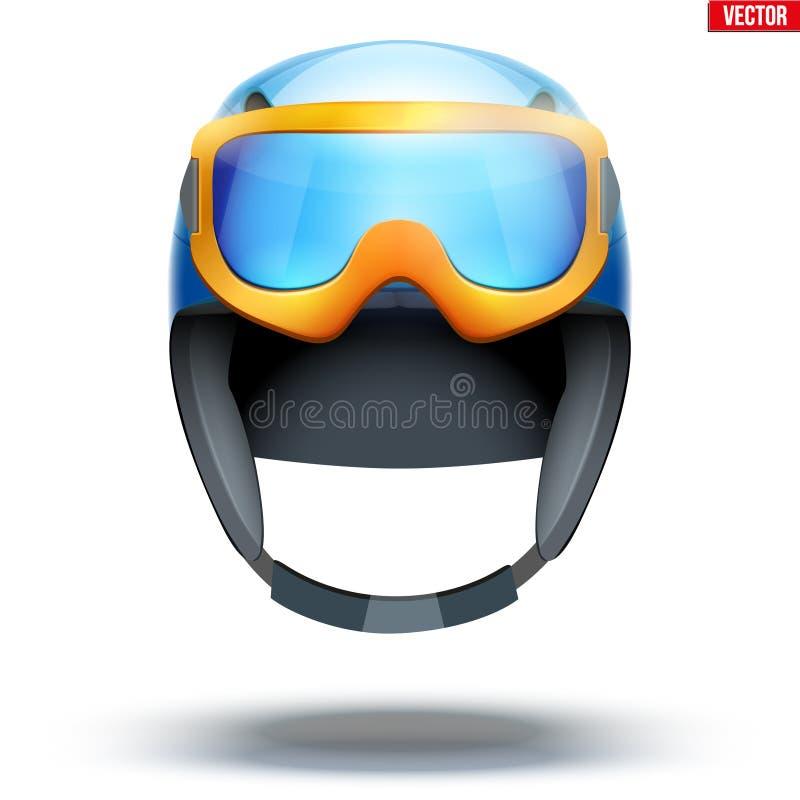 Классический шлем лыжи с изумленными взглядами сноуборда иллюстрация вектора