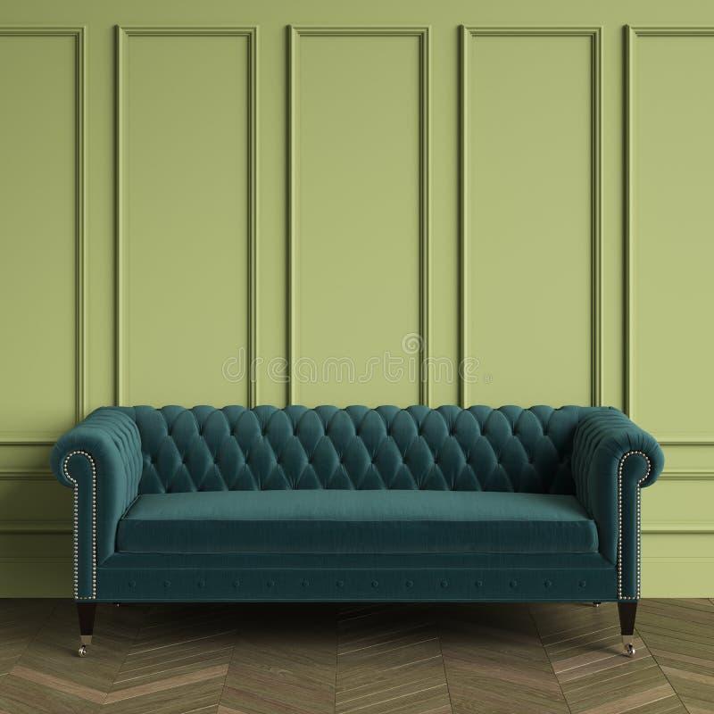 Классический Tufted цвет софы изумрудный стоя в классическом интерьере Зеленые стены с прессформами, herringbone дуба партера пол иллюстрация вектора