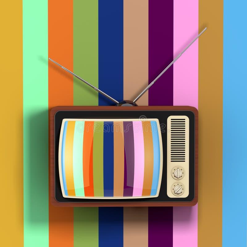 Классическое винтажное редкое ТВ перед Multicolour стеной renderi 3D иллюстрация вектора