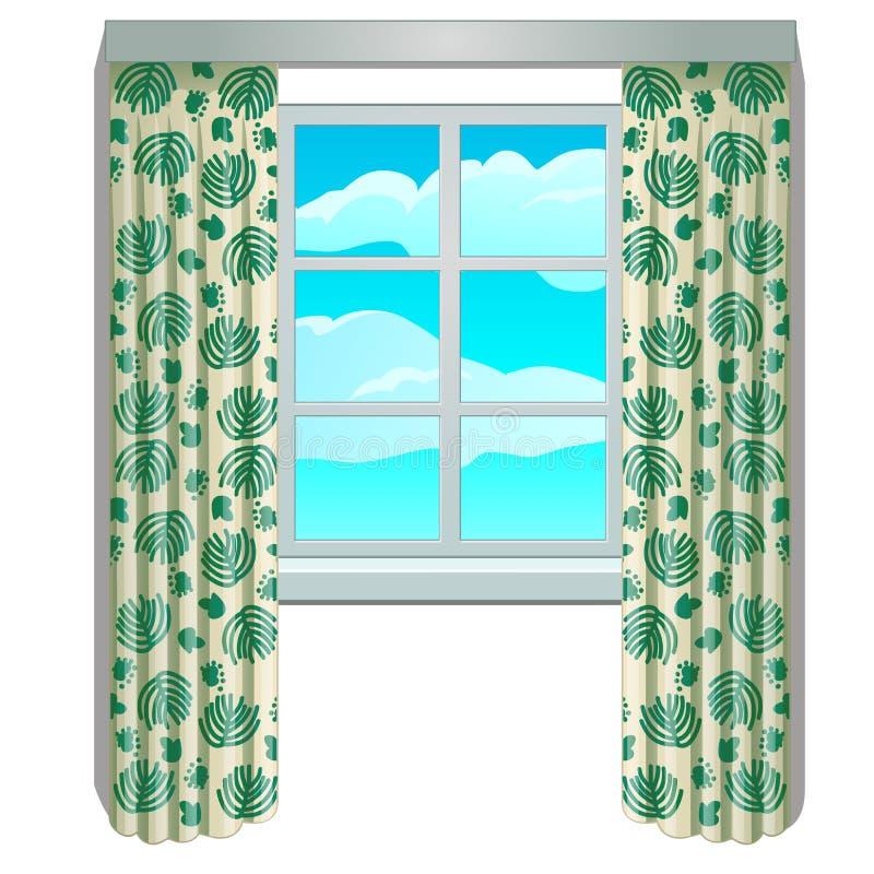 Классическое окно и взгляд неба и облаков в рамке с бежевыми занавесами с флористическим орнаментом Домашние внутренние элементы иллюстрация штока