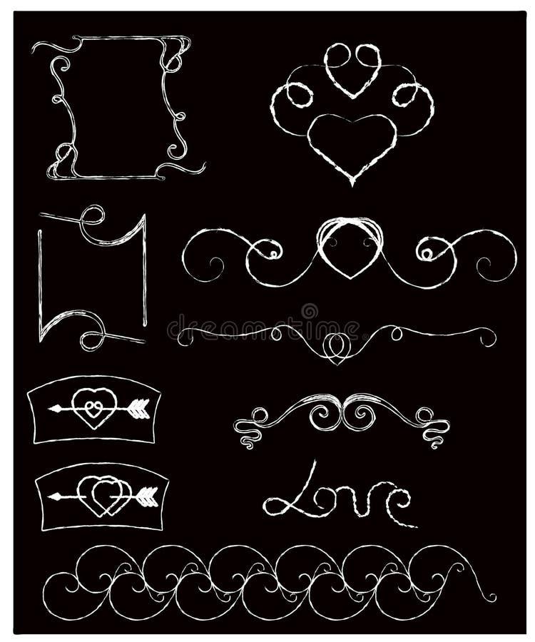 Классн классный и мелок Doodle тип собрание вектора орнаментов свирли руки вычерченных винтажных с сердцем иллюстрация вектора