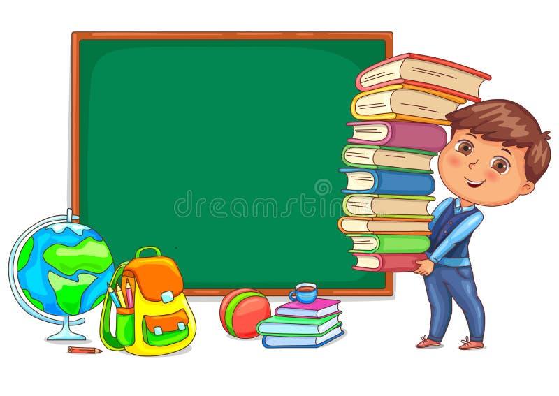 Классн классный и милый ребенок с книгами бесплатная иллюстрация