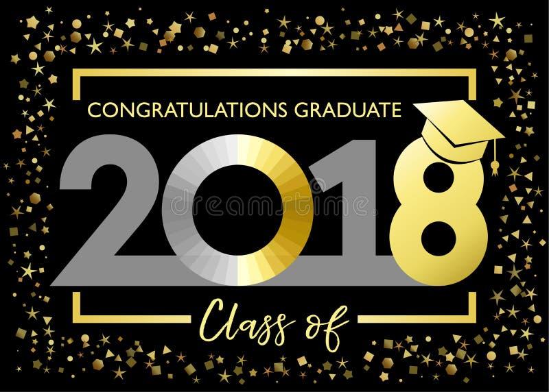 Класс 2018, поздравления градуируя золотую карточку яркого блеска иллюстрация штока