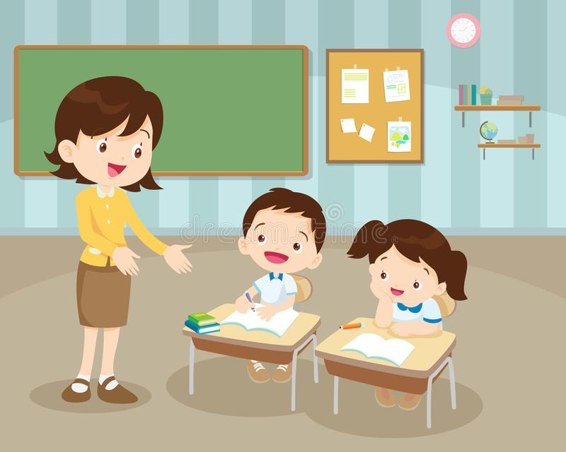 Класс с учителем и зрачками иллюстрация штока