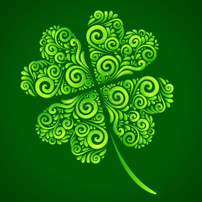 Клевер вектора богато украшенный удачливейший на зеленой предпосылке иллюстрация вектора
