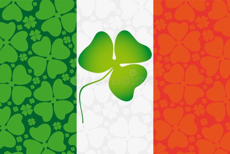 Клевер на флаге Ирландии иллюстрация штока