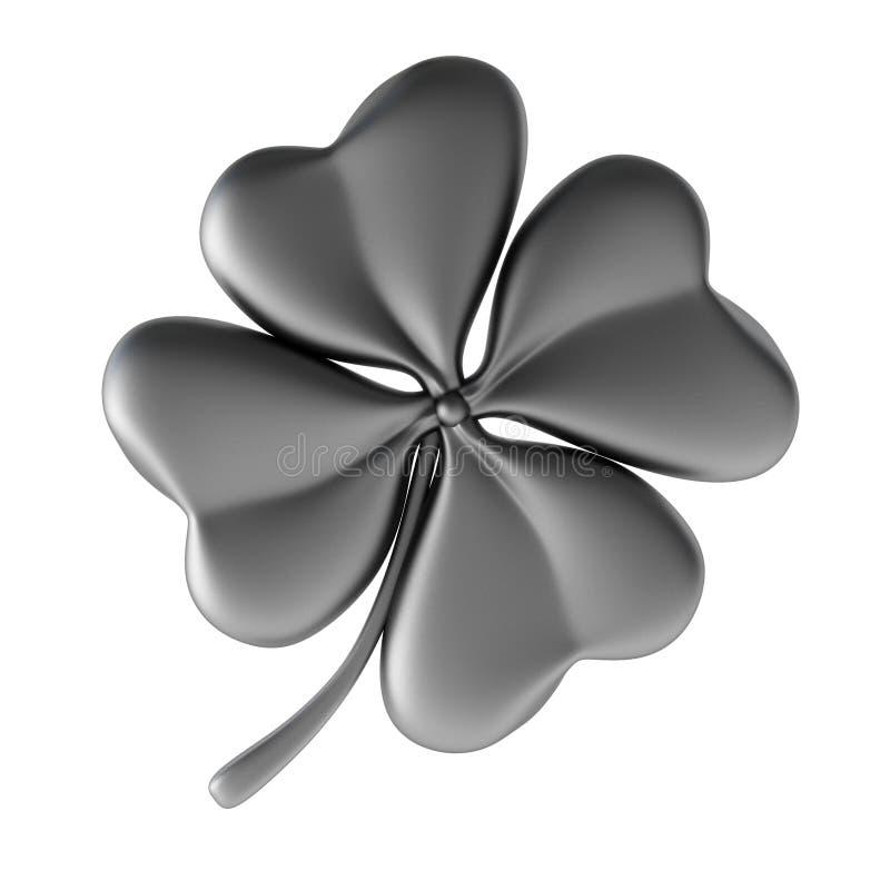 клевер 3d представляет серебр иллюстрация штока