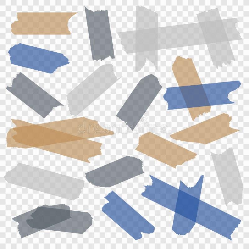 Клейкая лента Ленты прозрачной бумаги шотландские, маскируя липкие части клеят прокладки Изолированный комплект вектора иллюстрация штока
