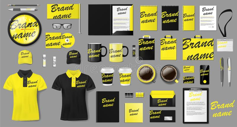 Дизайн шаблона фирменного стиля Клеймить желтый и черный модель-макет канцелярских принадлежностей дела для магазина Канцелярские бесплатная иллюстрация