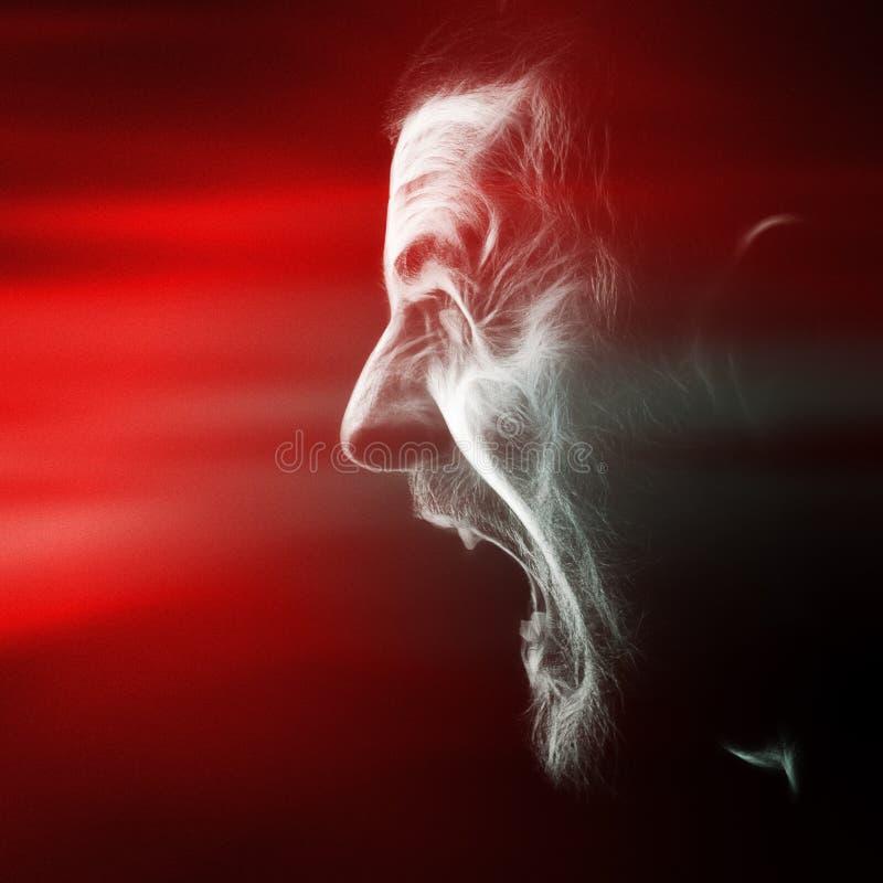 Клекот сердитого человека с сумашедшей стороной стоковое изображение