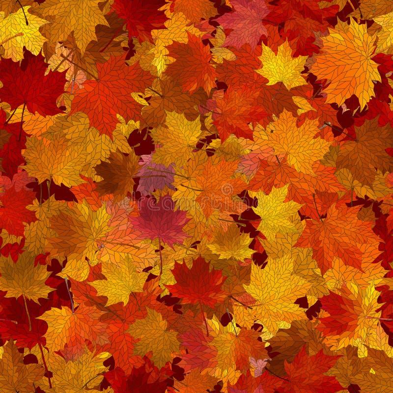 Кленовые листы осени, безшовная предпосылка. иллюстрация штока