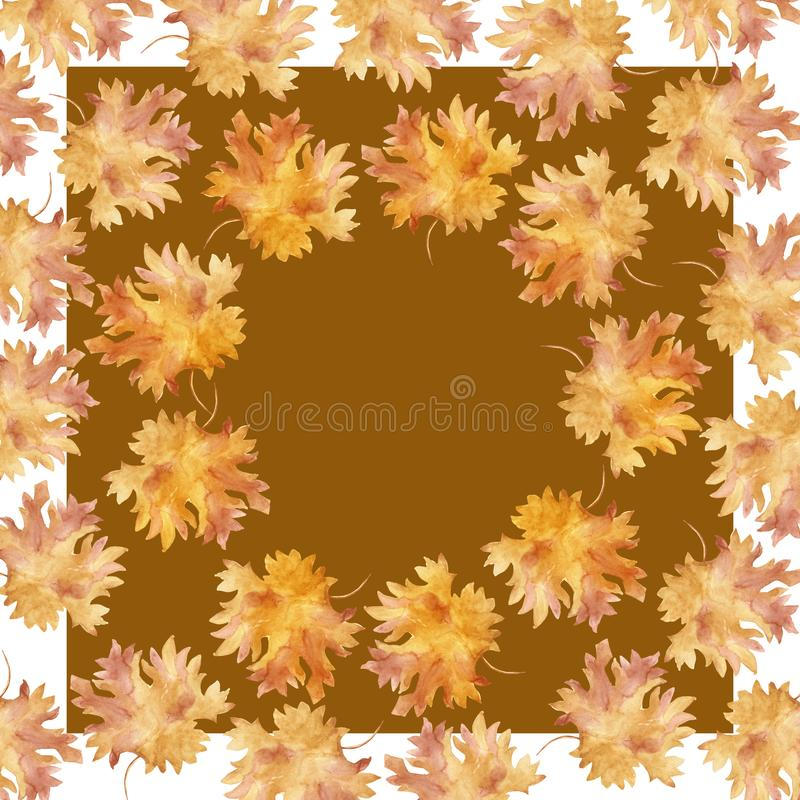 Кленовые листы осени квадрата рамки акварели красочные в круглом танце, изолированном на белой предпосылке, с космосом для текста бесплатная иллюстрация