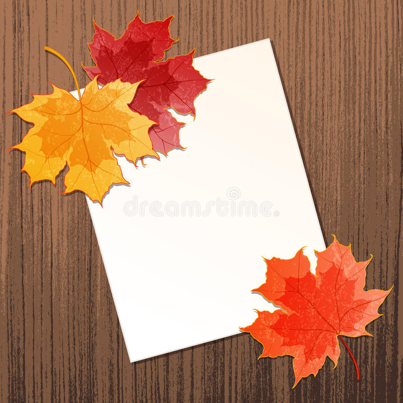 Кленовые листы с бумажным листом иллюстрация штока