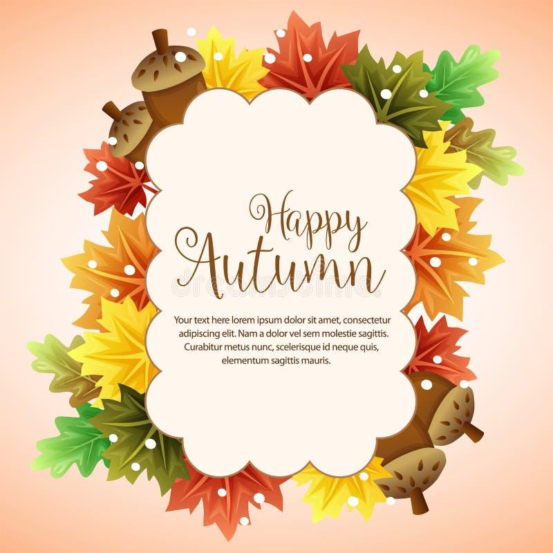 Кленовый лист и гайка облака счастливой осени красочные бесплатная иллюстрация