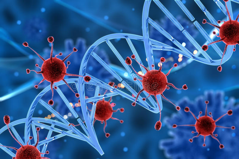 клетки вируса 3D атакуя стренгу дна иллюстрация вектора