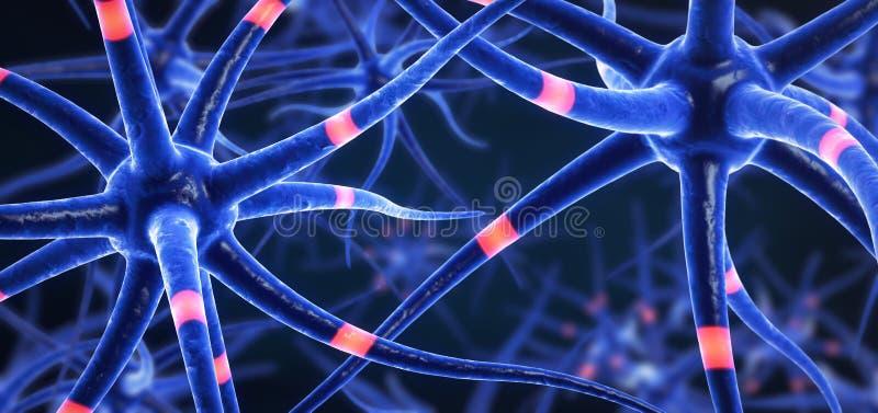 Клетки головного мозга покрашенные синью передавая иллюстрация вектора