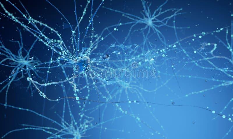 клетки нейрона 3d стоковая фотография