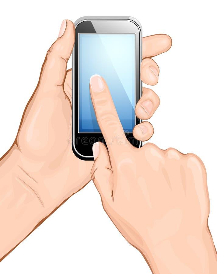 клетчатый касатьться scree телефона удерживания руки иллюстрация вектора