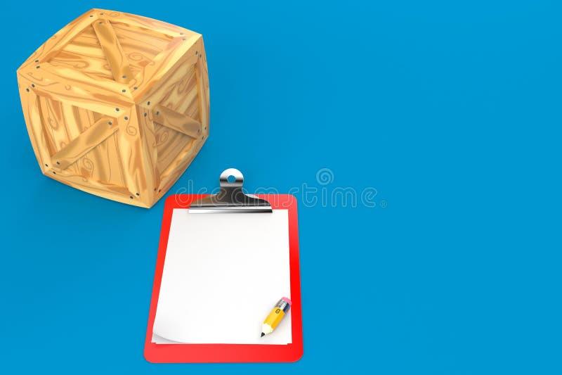 Клеть груза с пустой доской сзажимом для бумаги иллюстрация вектора