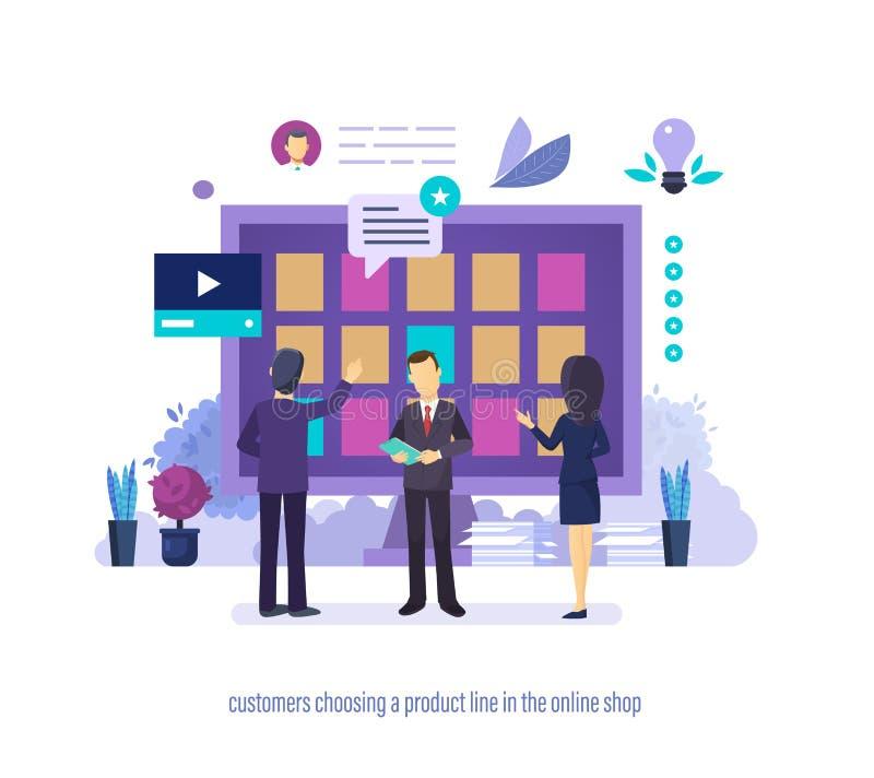 Клиенты выбирая номенклатуру товаров в онлайн магазине с различными характеристиками иллюстрация штока