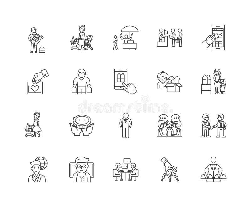 Клиенты выравнивают значки, знаки, набор вектора, концепцию иллюстрации плана иллюстрация штока