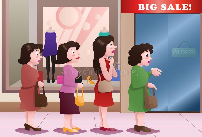 клиенты принимая линию в переднем торговом центре иллюстрация вектора