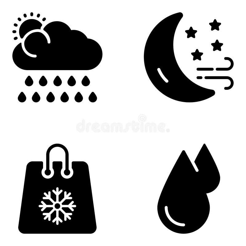 Климат прогнозируя векторы глифа иллюстрация вектора