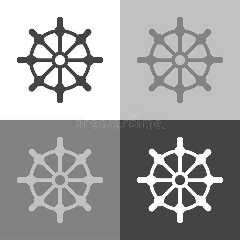 клиппирование изолированное над белизной колеса корабля путя Значок рулевого колеса шлюпки Установите значок вектора на бело- бесплатная иллюстрация