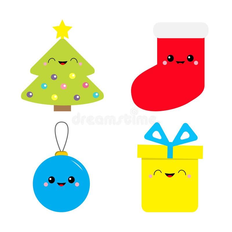 клиппирование рождества содержит цифровые установленные пути иллюстрации иконы Ель, игрушка шарика, носок, подарочная коробка Нов иллюстрация штока