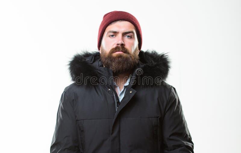 Клобук добавляет сопротивление тепла и погоды Parka куртки бородатой стойки человека теплый изолированный на белой предпосылке Ка стоковые фото