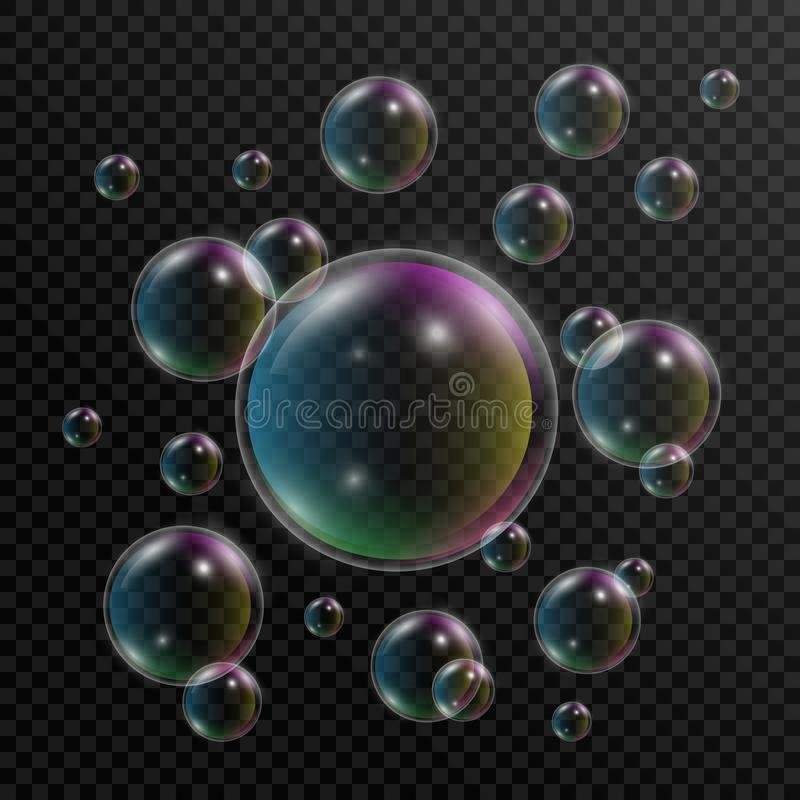 клокочет реалистическое мыло Комплект пузырей мыла с отражением радуги на прозрачной предпосылке пузырь 3d вектор иллюстрация вектора