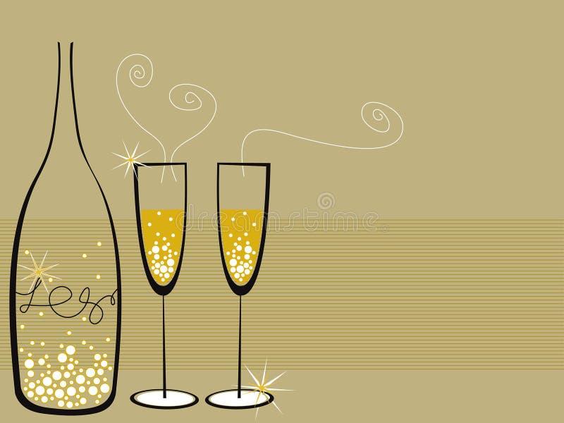 клокочет шампанское торжества иллюстрация вектора