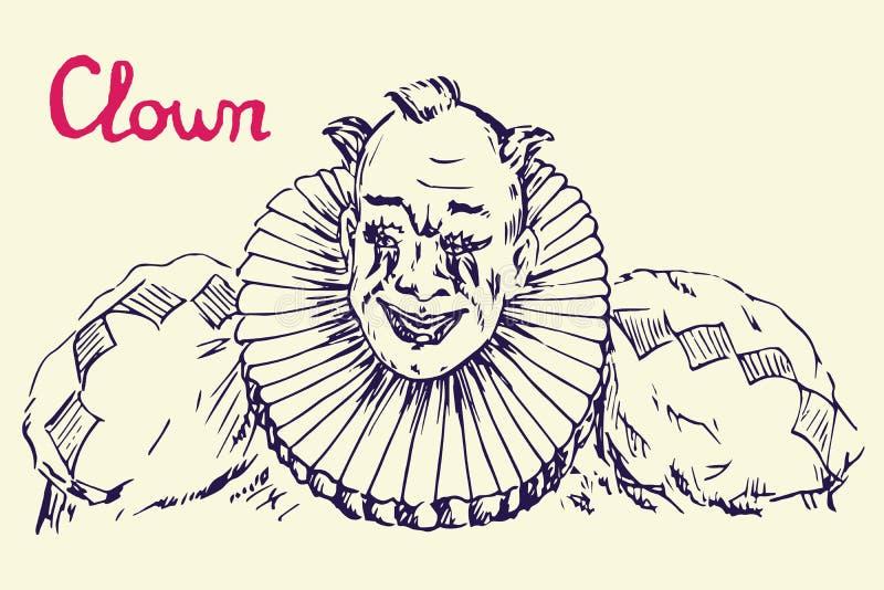 Клоун в костюме со смешной усмехаться волос иллюстрация вектора