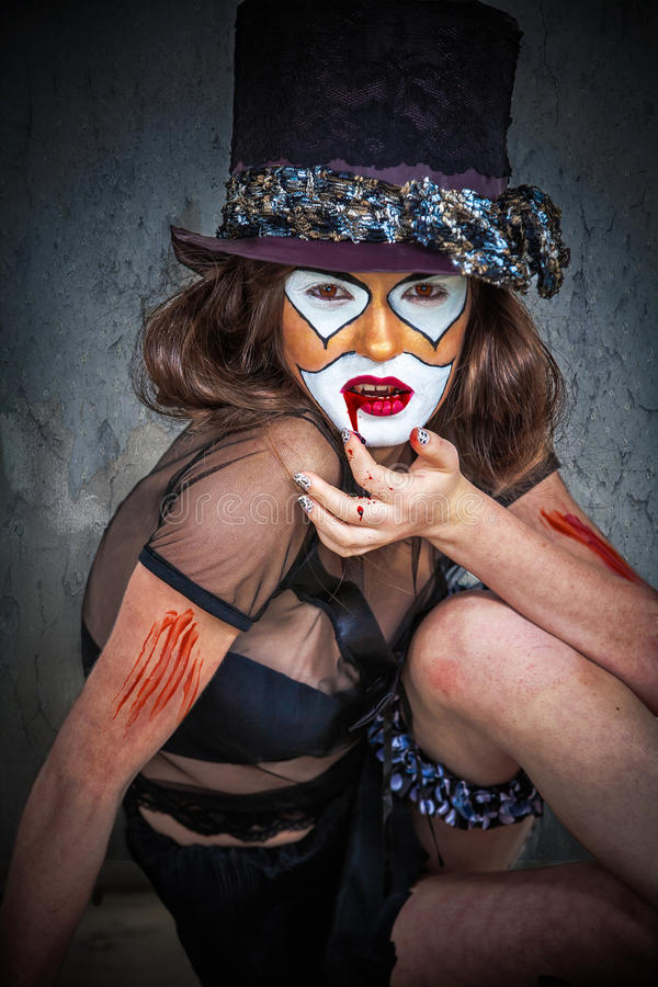 Клоун изверга портрета страшный стоковое фото rf
