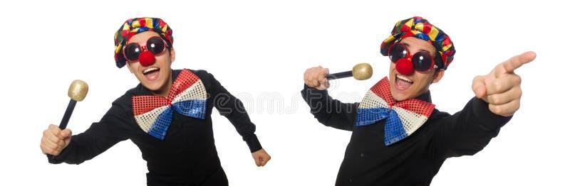 Клоун при микрофон изолированный на белизне стоковое изображение rf