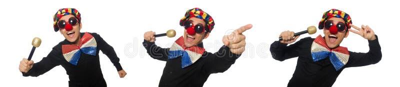 Клоун при микрофон изолированный на белизне стоковая фотография rf