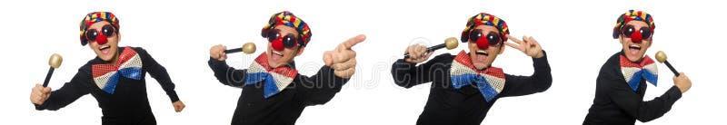 Клоун при микрофон изолированный на белизне стоковая фотография
