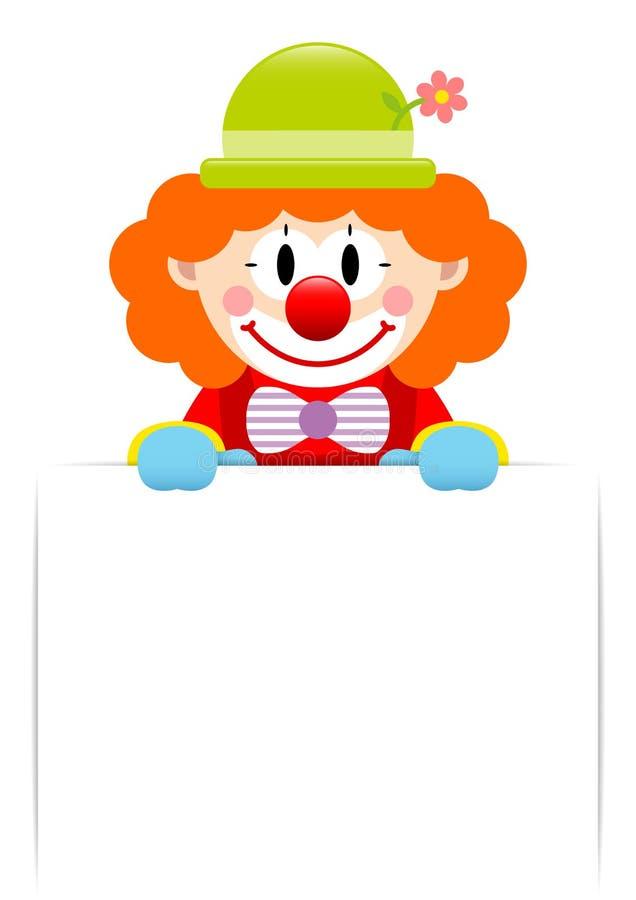Клоун с оранжевыми волосами держа горизонтальный ярлык бесплатная иллюстрация