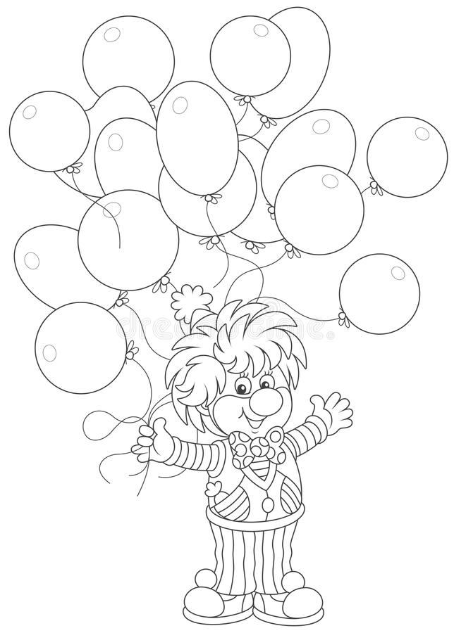 Клоун цирка с воздушными шарами бесплатная иллюстрация
